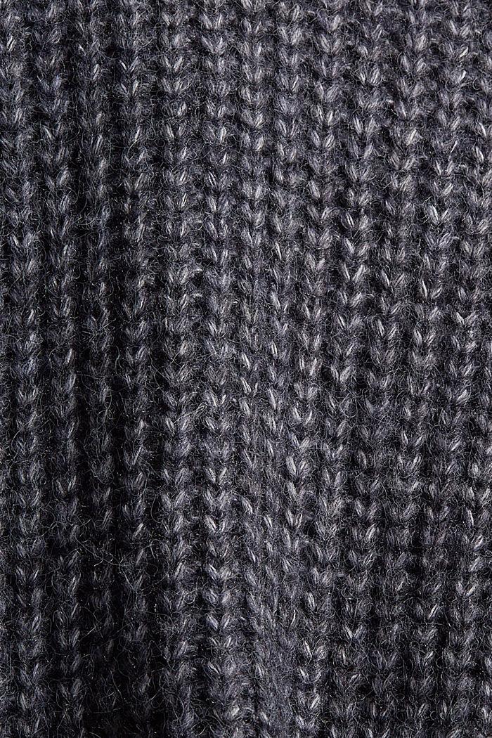 Met wol: lang vest met capuchon, NAVY, detail image number 4