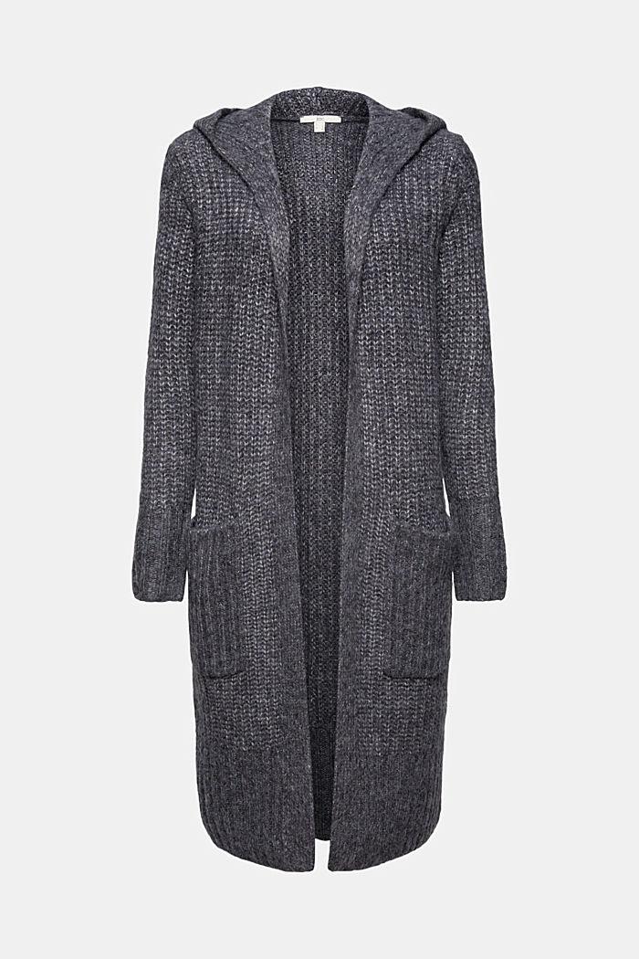 Met wol: lang vest met capuchon, NAVY, detail image number 6