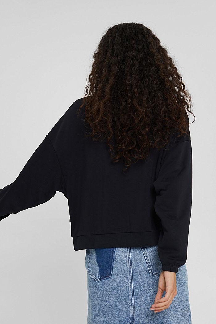 Sweatshirt mit Stehkragen, Bio-Baumwoll-Mix, BLACK, detail image number 3