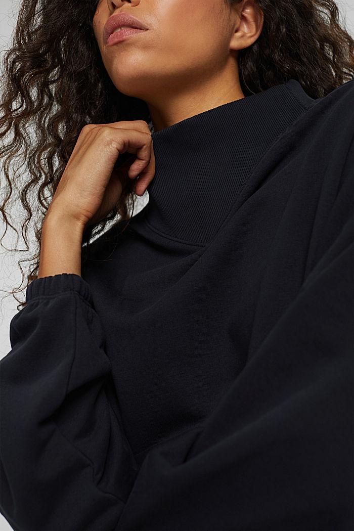 Sweatshirt mit Stehkragen, Bio-Baumwoll-Mix, BLACK, detail image number 2