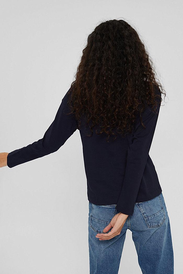 Camiseta de manga larga con cuello vuelto en 100% algodón ecológico, NAVY, detail image number 3