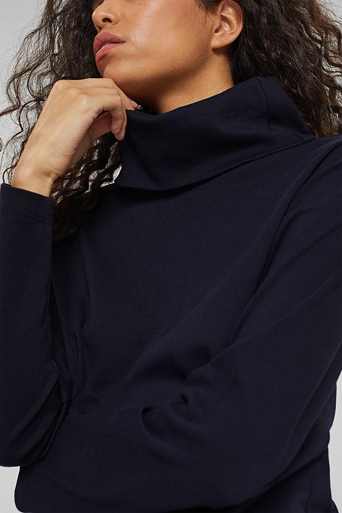 Camiseta de manga larga con cuello vuelto en 100% algodón ecológico, NAVY, detail image number 2
