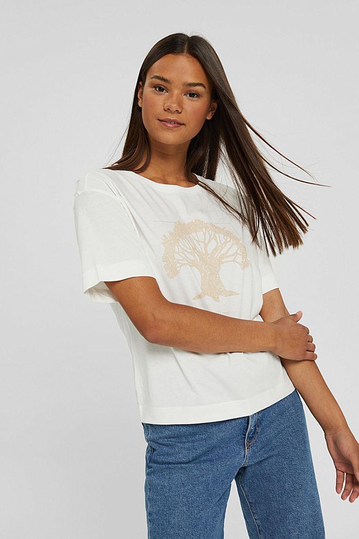T-shirt met print, van biologisch katoen, OFF WHITE, detail image number 0