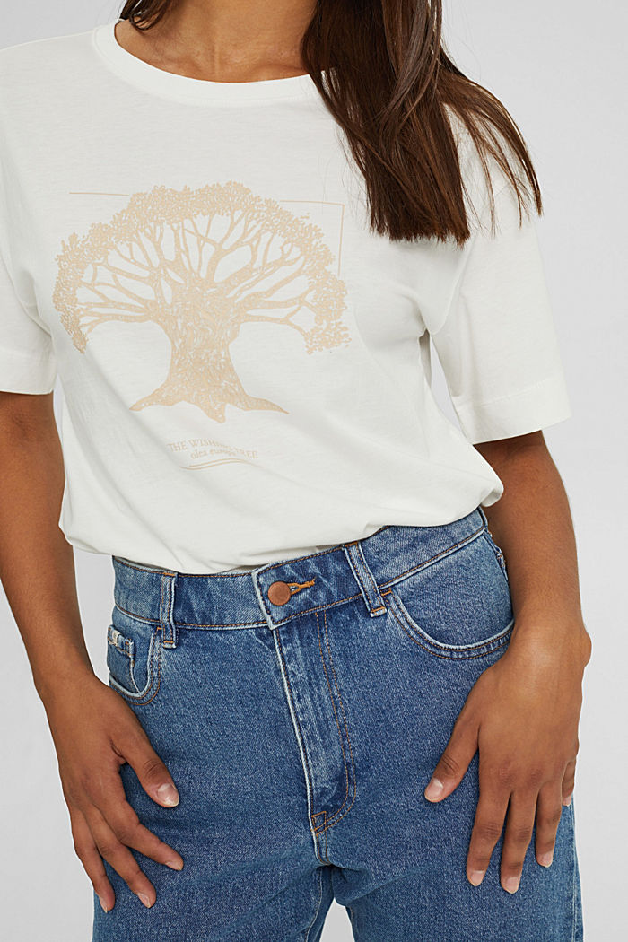 T-shirt met print, van biologisch katoen, OFF WHITE, detail image number 2