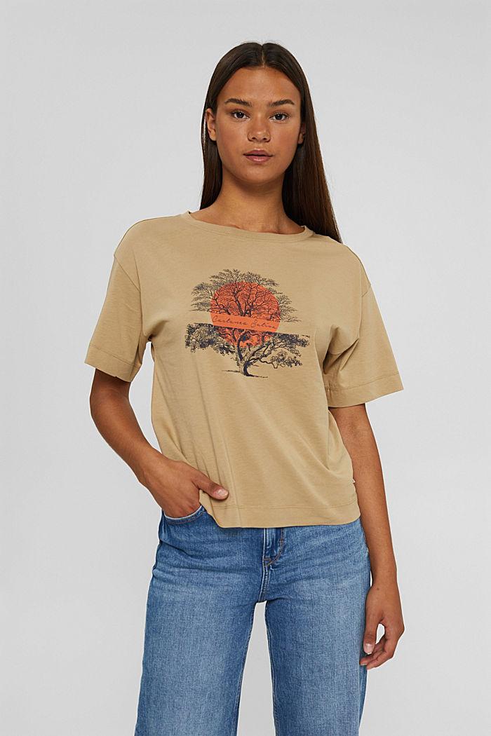 T-Shirt mit Print aus Bio-Baumwolle, BEIGE, detail image number 0