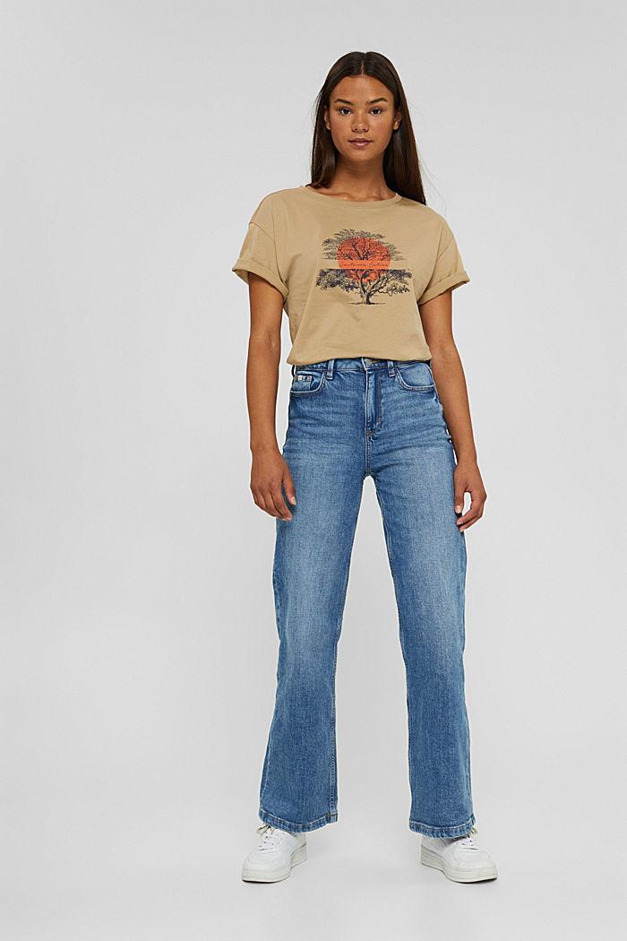 T-Shirt mit Print aus Bio-Baumwolle, BEIGE, detail image number 5