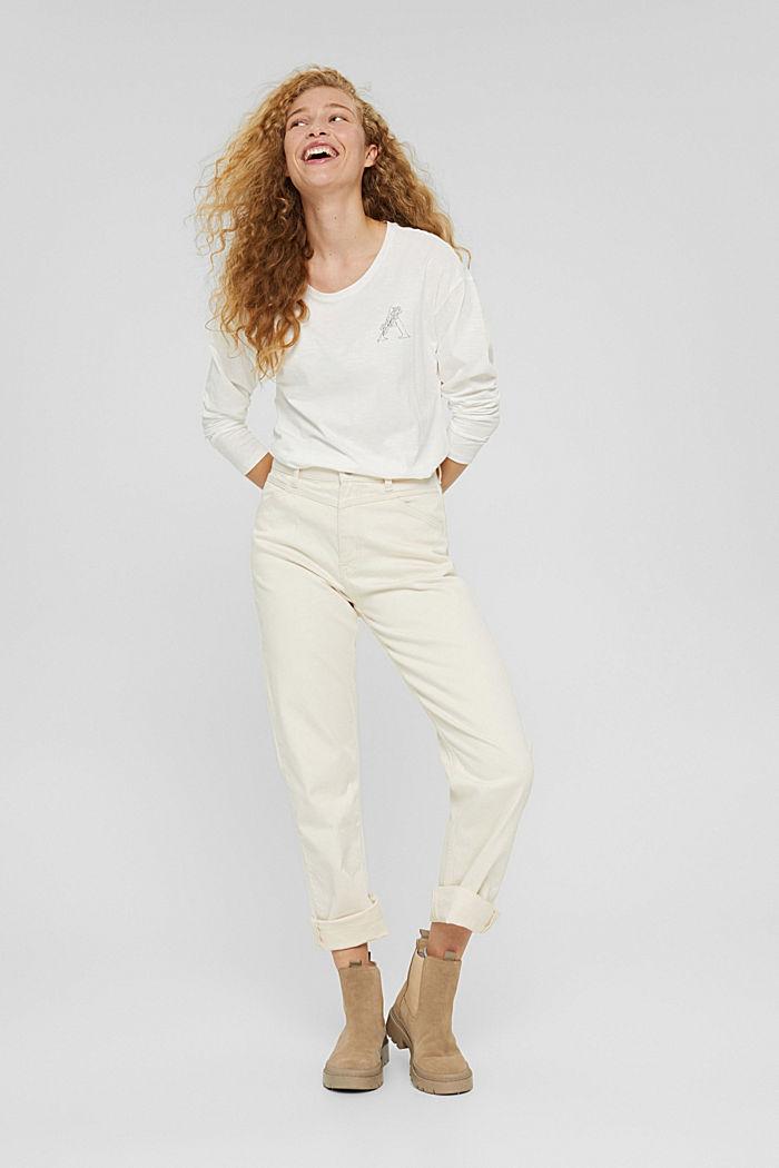 Longsleeve met print van organic cotton, OFF WHITE, detail image number 6