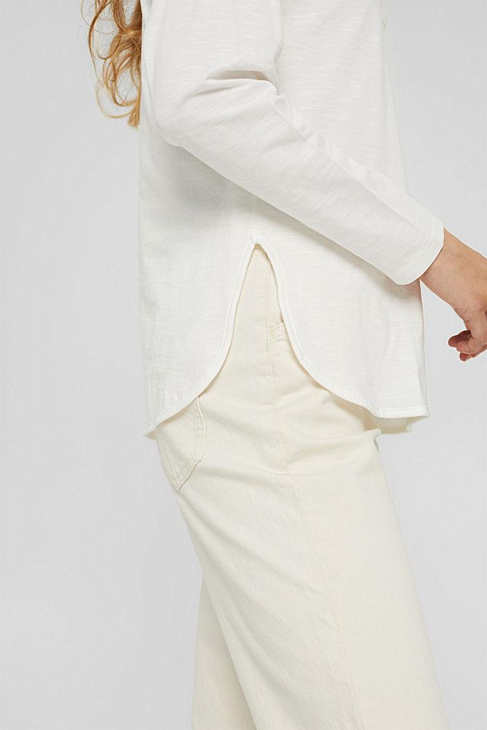 Longsleeve met print van organic cotton, OFF WHITE, detail image number 5