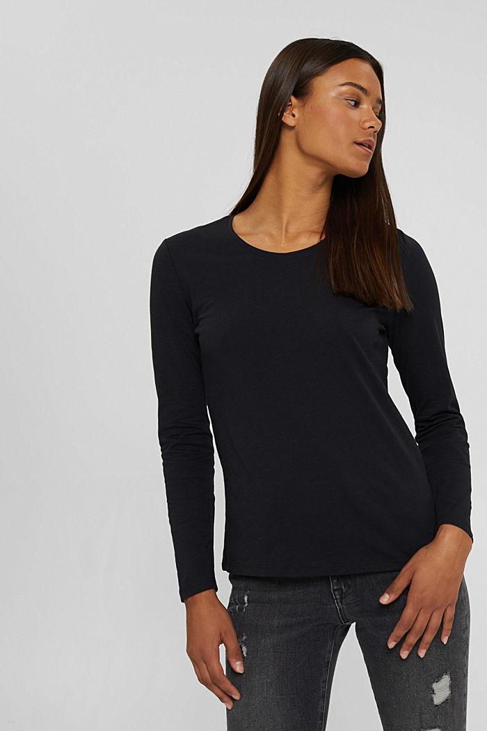 Camiseta de manga larga con cuello redondo en 100% algodón ecológico, BLACK, detail image number 0