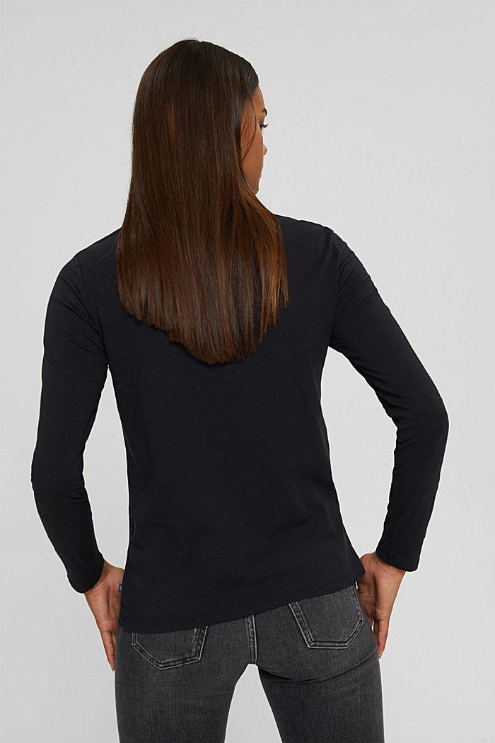 Camiseta de manga larga con cuello redondo en 100% algodón ecológico, BLACK, detail image number 3