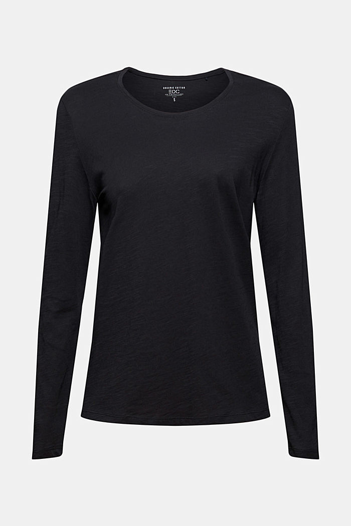 Camiseta de manga larga con cuello redondo en 100% algodón ecológico, BLACK, detail image number 6
