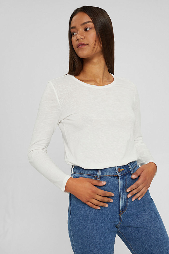 Camiseta de manga larga con cuello redondo en 100% algodón ecológico, OFF WHITE, detail image number 0