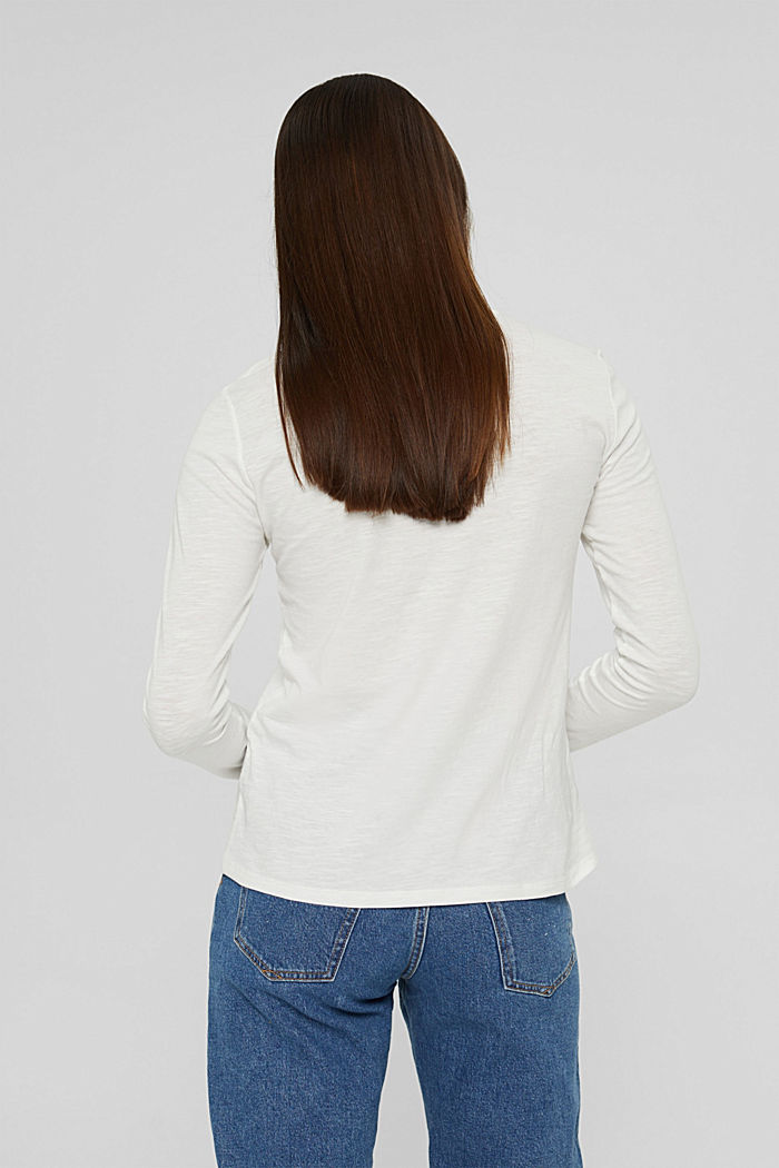 Camiseta de manga larga con cuello redondo en 100% algodón ecológico, OFF WHITE, detail image number 3
