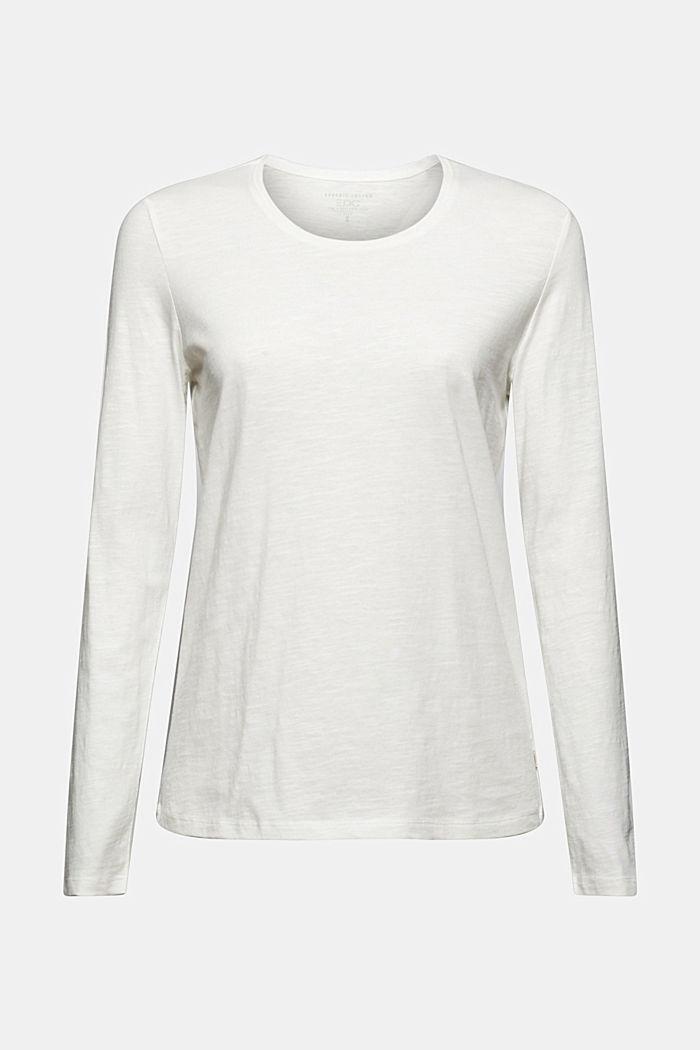 Camiseta de manga larga con cuello redondo en 100% algodón ecológico, OFF WHITE, detail image number 6