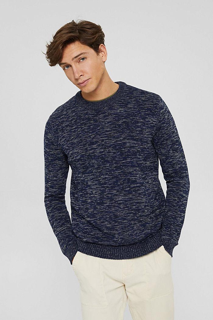 Melierter Pullover aus 100% Organic Cotton, NAVY, detail image number 0