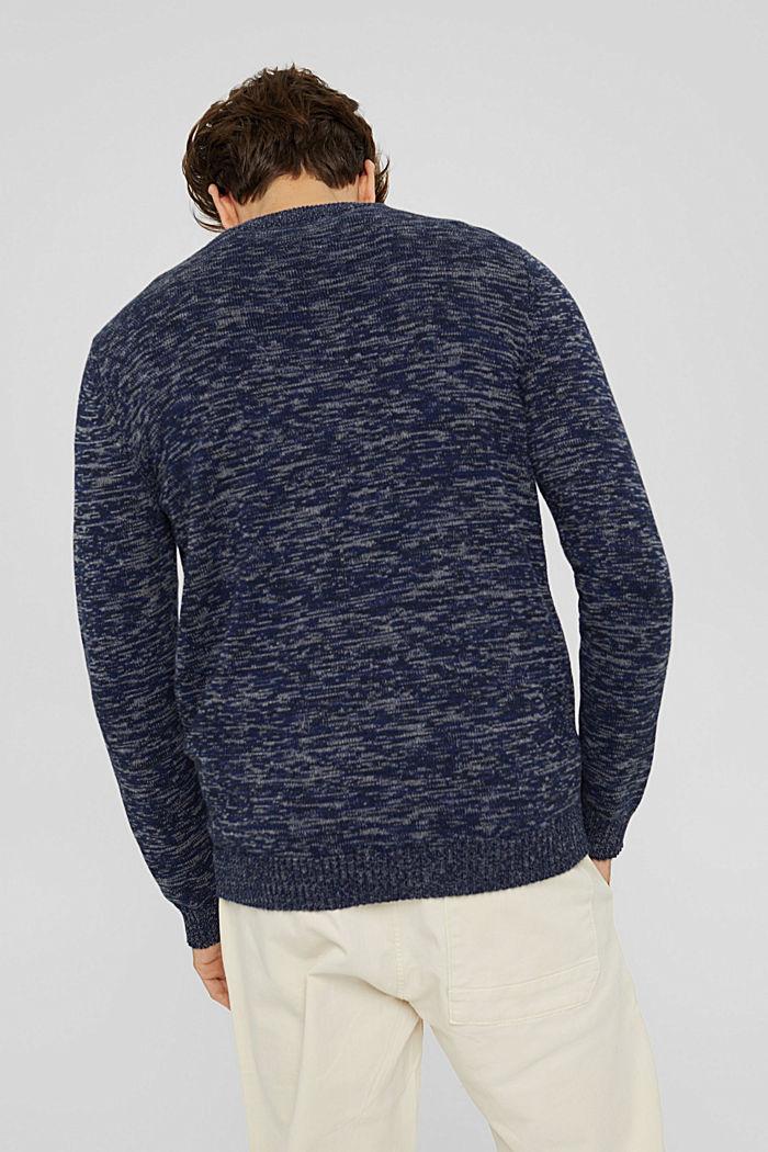 Melierter Pullover aus 100% Organic Cotton, NAVY, detail image number 3