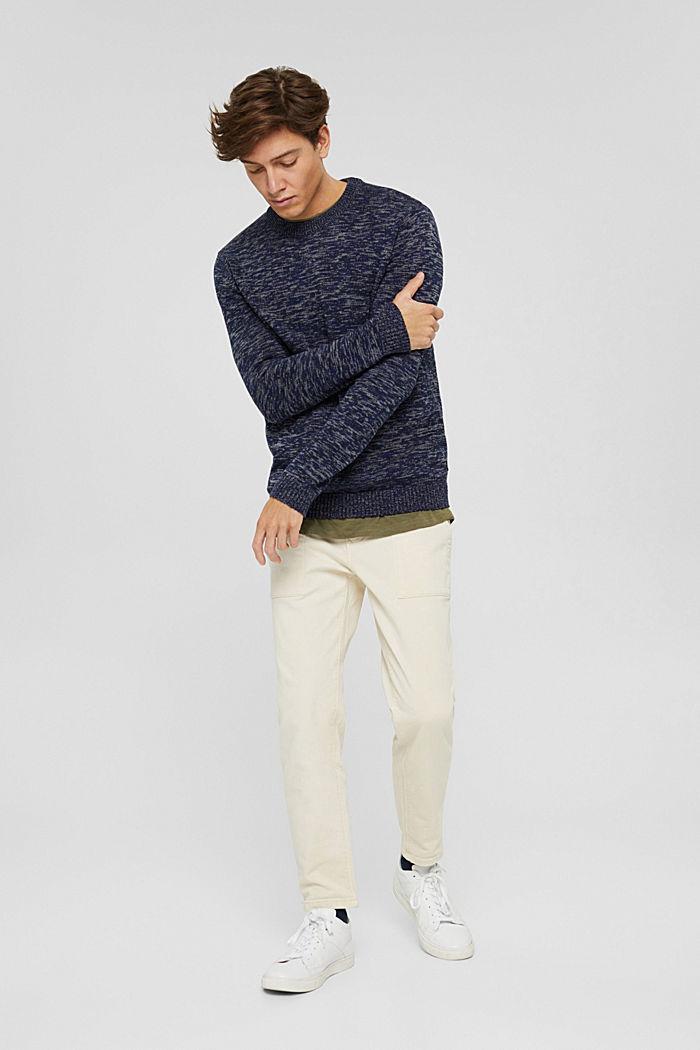 Melierter Pullover aus 100% Organic Cotton, NAVY, detail image number 1