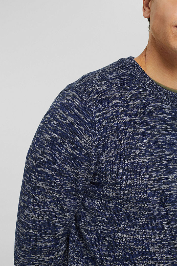 Melierter Pullover aus 100% Organic Cotton, NAVY, detail image number 2