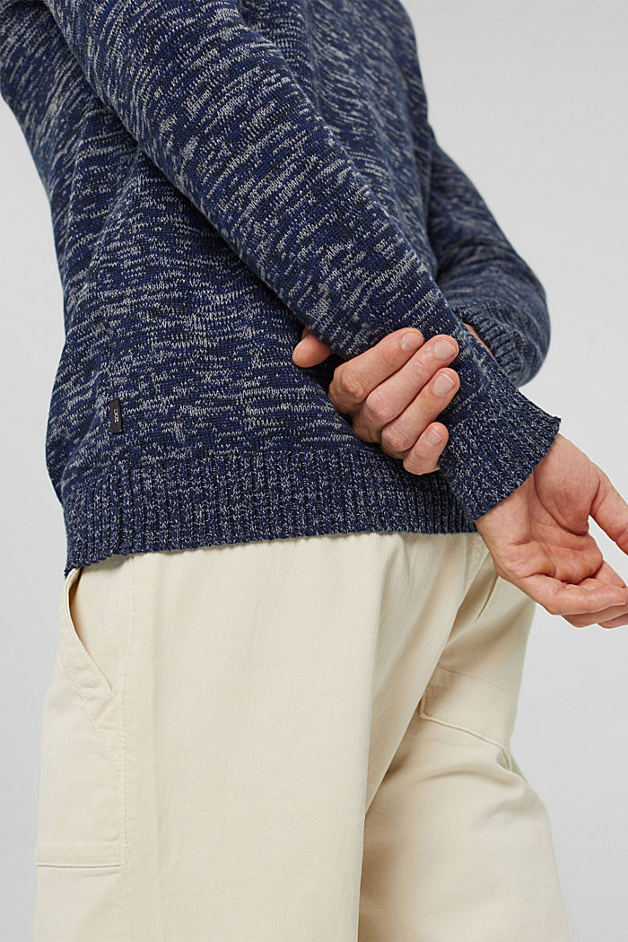 Melierter Pullover aus 100% Organic Cotton, NAVY, detail image number 5