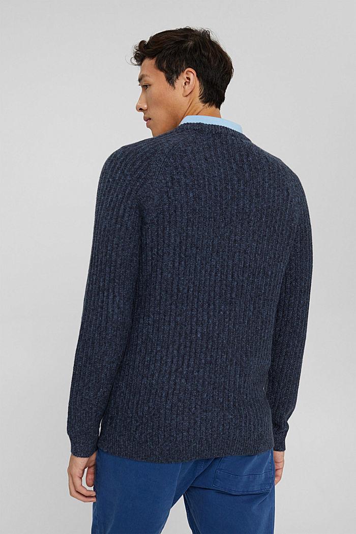 Ribgebreide trui van een mix met biologisch katoen, NAVY, detail image number 3