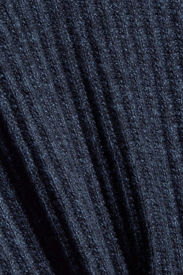 Ribgebreide trui van een mix met biologisch katoen, NAVY, detail image number 4