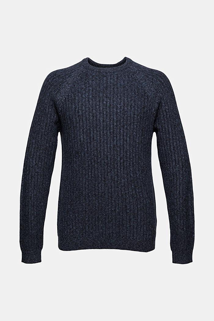 Ribgebreide trui van een mix met biologisch katoen