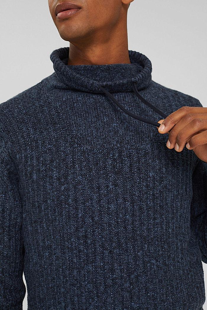 Pullover mit Tunnelkragen aus Bio-Baumwoll-Mix, NAVY, detail image number 2