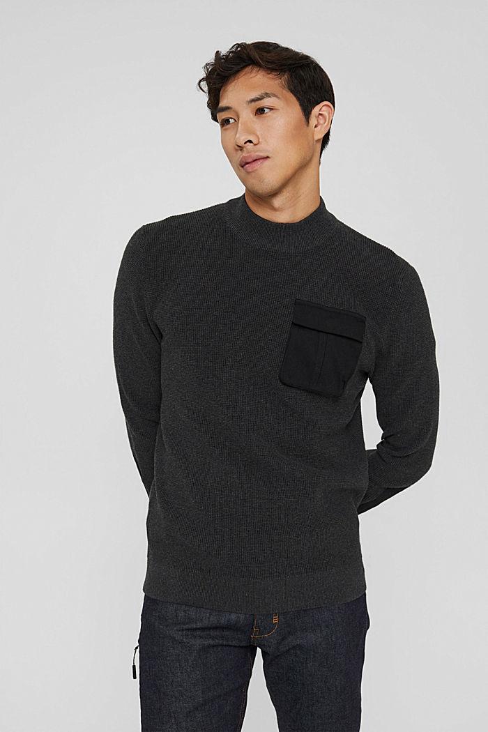 Pullover mit Brusttasche, Organic Cotton, ANTHRACITE, detail image number 0