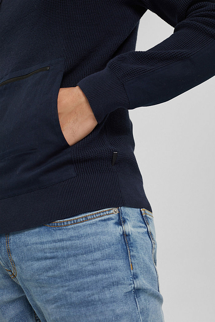 Pull-over à capuche, 100% coton biologique, NAVY, detail image number 2