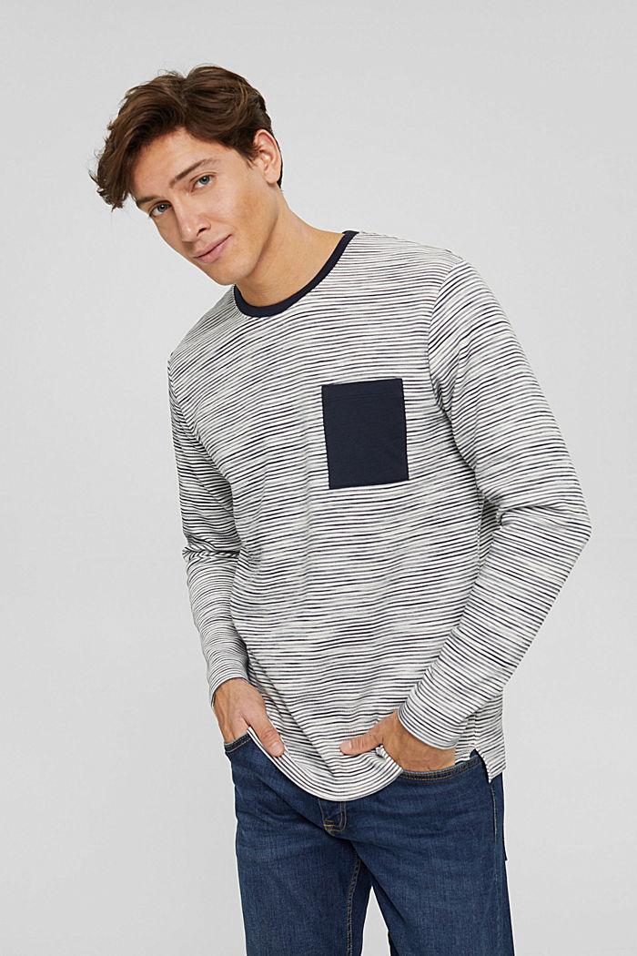 Sweatshirt mit Tasche aus Baumwoll-Mix, OFF WHITE, detail image number 0