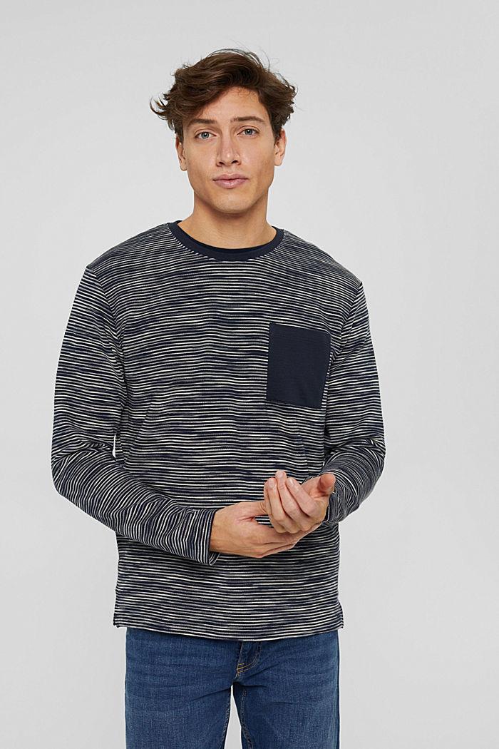 Sweat-shirt à poche en coton mélangé, NAVY, detail image number 0
