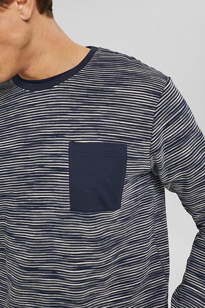 Sweat-shirt à poche en coton mélangé, NAVY, detail image number 2