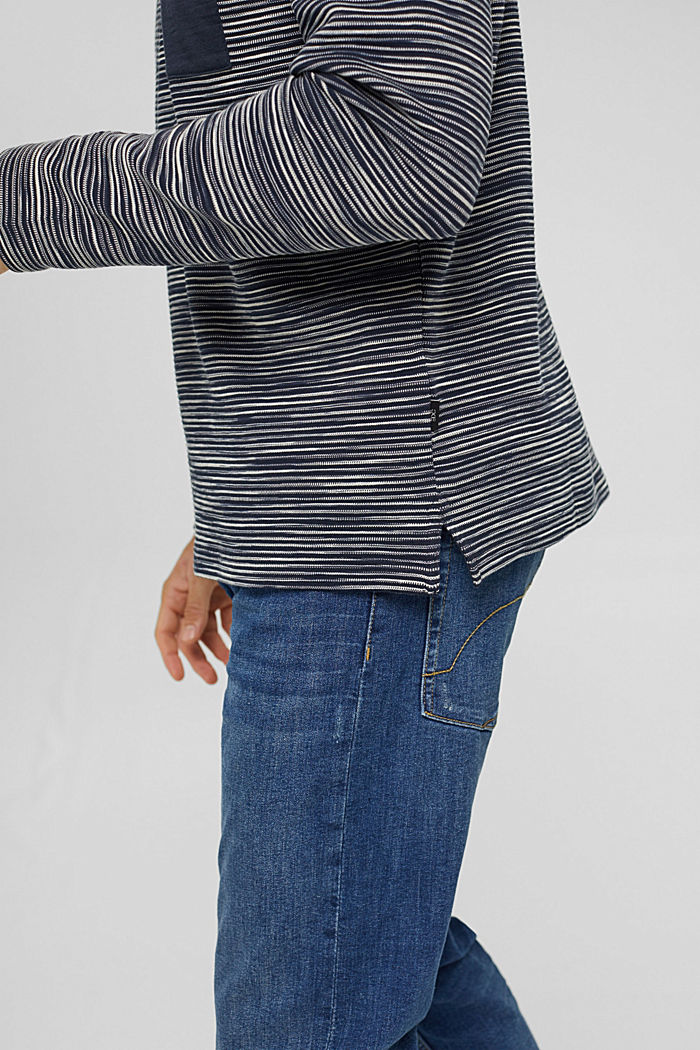 Sweat-shirt à poche en coton mélangé, NAVY, detail image number 6