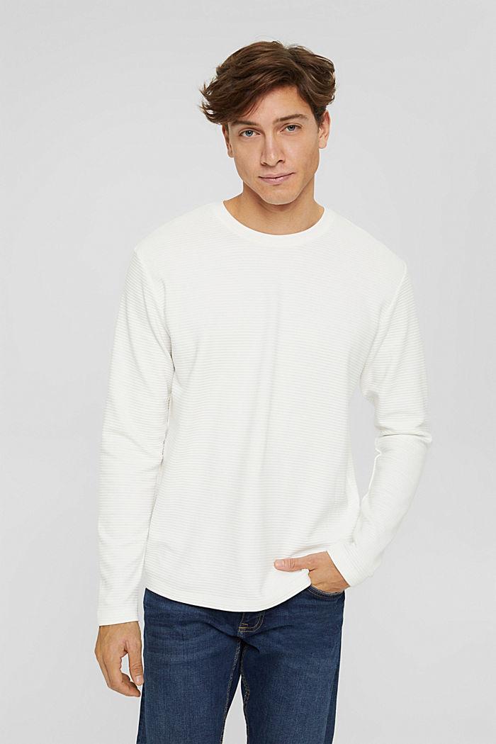 Sweatshirt mit Struktur aus Baumwoll-Mix, OFF WHITE, detail image number 0