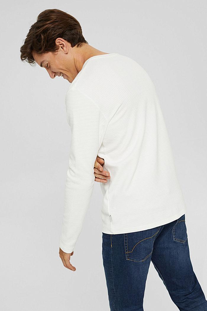 Sweatshirt mit Struktur aus Baumwoll-Mix, OFF WHITE, detail image number 3
