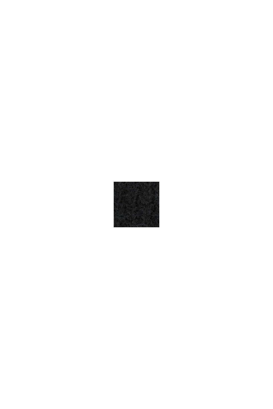 Rib knit beanie in a wool/alpaca blend, BLACK, swatch