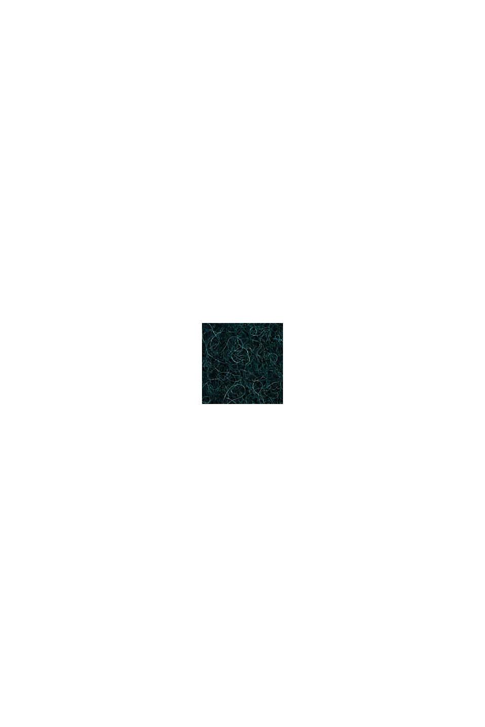 Rib knit beanie in a wool/alpaca blend, DARK TEAL GREEN, swatch