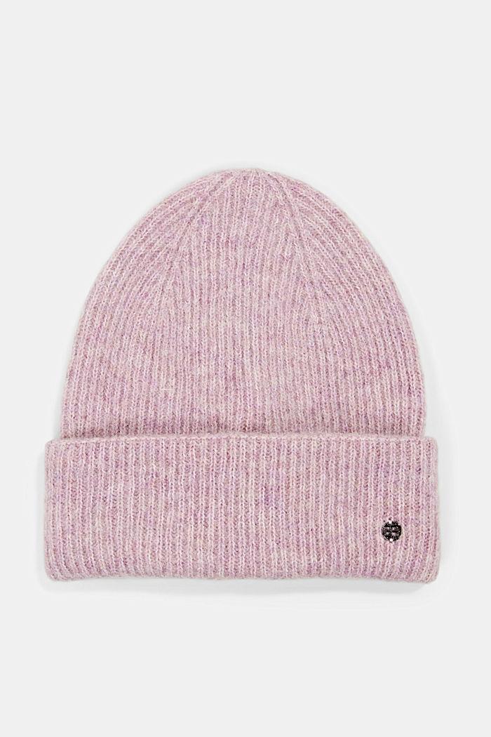 Rib knit beanie in a wool/alpaca blend
