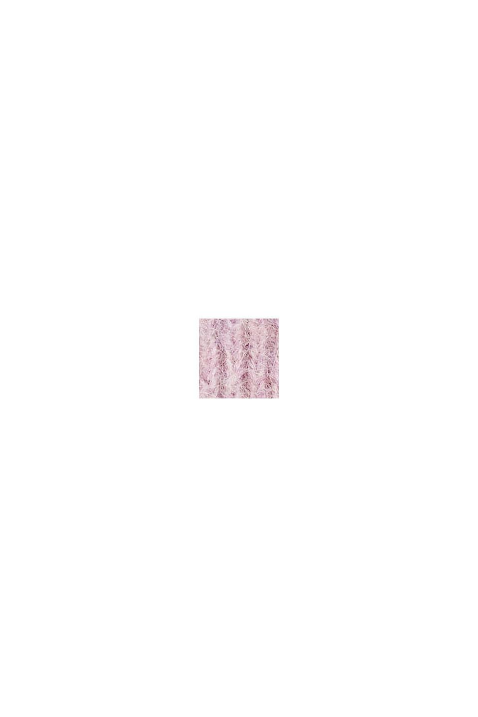 Rib knit beanie in a wool/alpaca blend, MAUVE, swatch