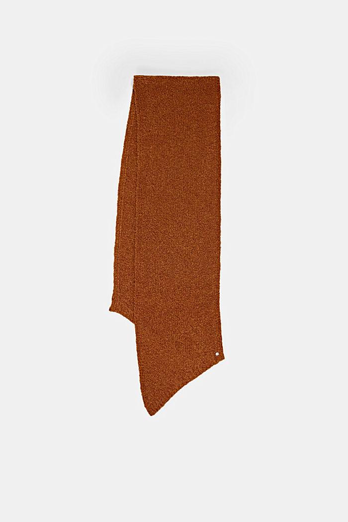 Mit Wolle/Alpaka: Strickschal aus Bouclé, RUST BROWN, detail image number 3