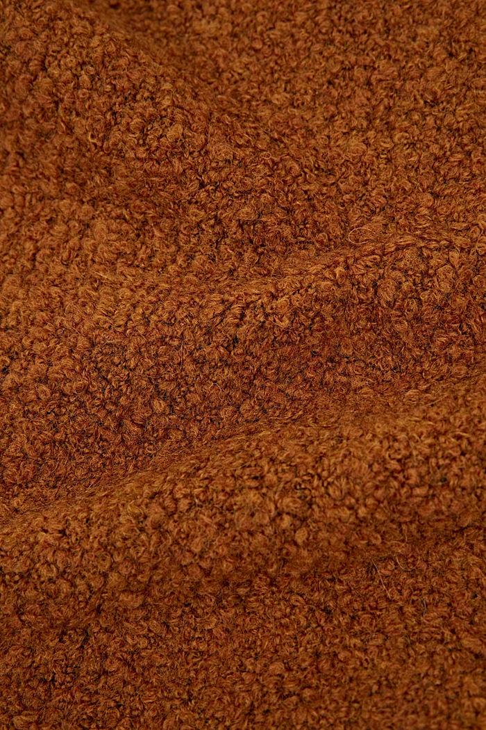 Mit Wolle/Alpaka: Strickschal aus Bouclé, RUST BROWN, detail image number 2