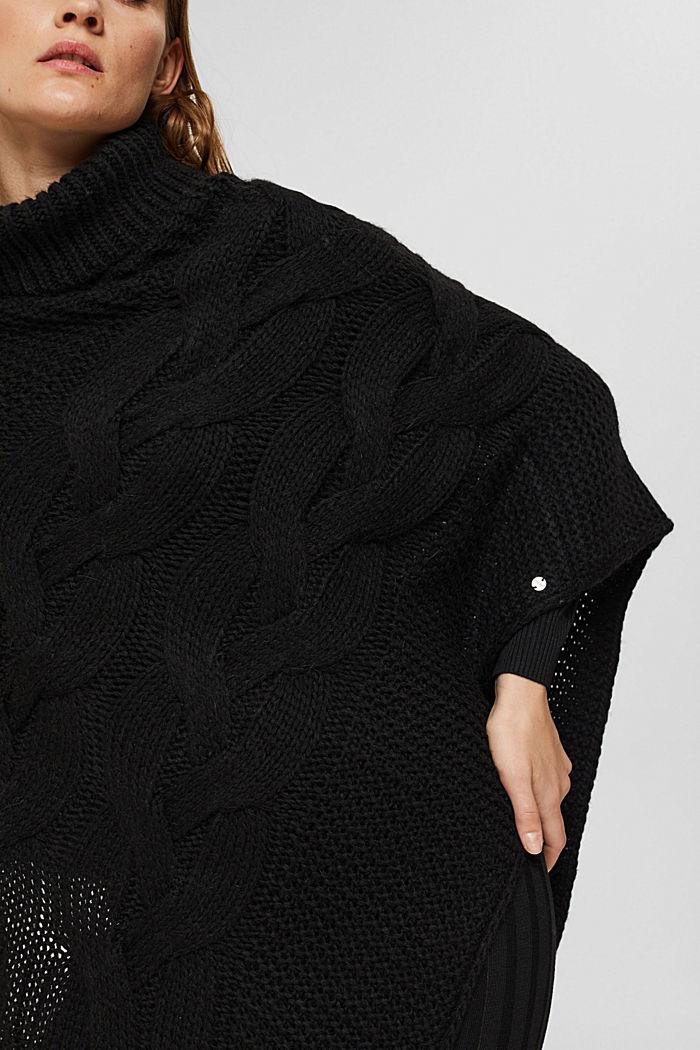 Met wol/alpaca: gebreide poncho met kabelpatroon, BLACK, detail image number 2