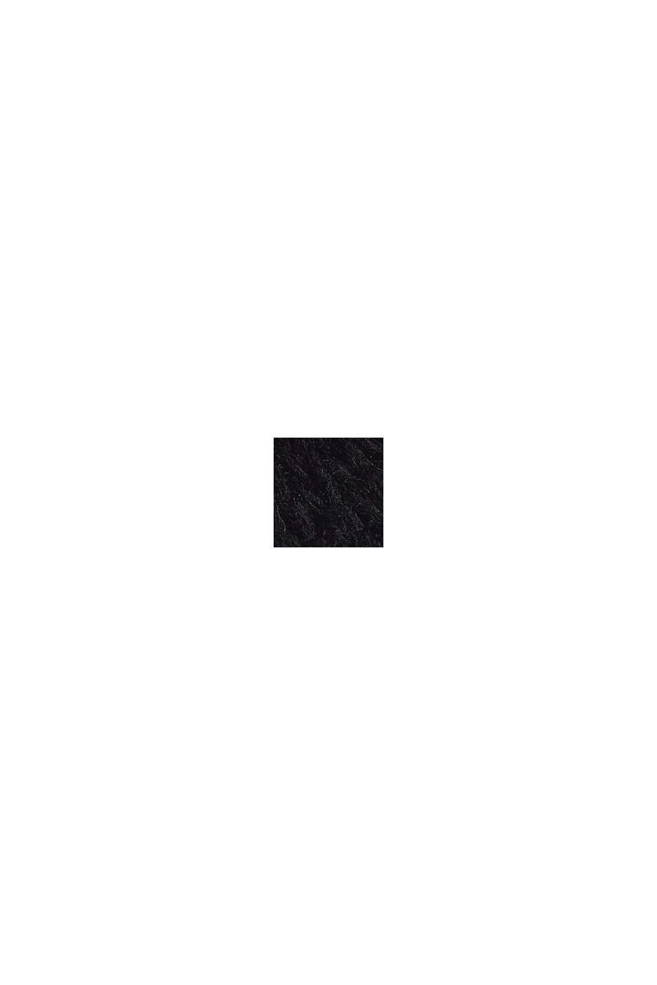 Mit Wolle/Alpaka: Poncho aus Zopfstrick, BLACK, swatch