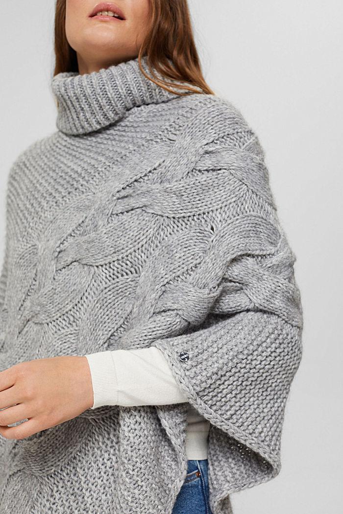 Mit Wolle/Alpaka: Poncho aus Zopfstrick, LIGHT GREY, detail image number 2