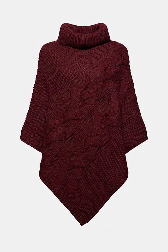 Mit Wolle/Alpaka: Poncho aus Zopfstrick, BORDEAUX RED, detail image number 0