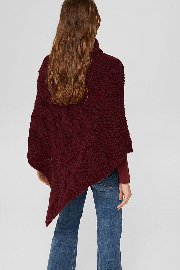 Mit Wolle/Alpaka: Poncho aus Zopfstrick, BORDEAUX RED, detail image number 3