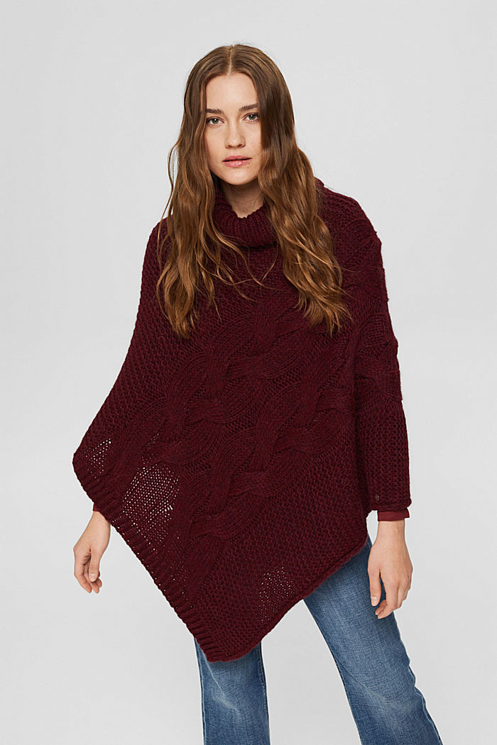 Mit Wolle/Alpaka: Poncho aus Zopfstrick, BORDEAUX RED, detail image number 1