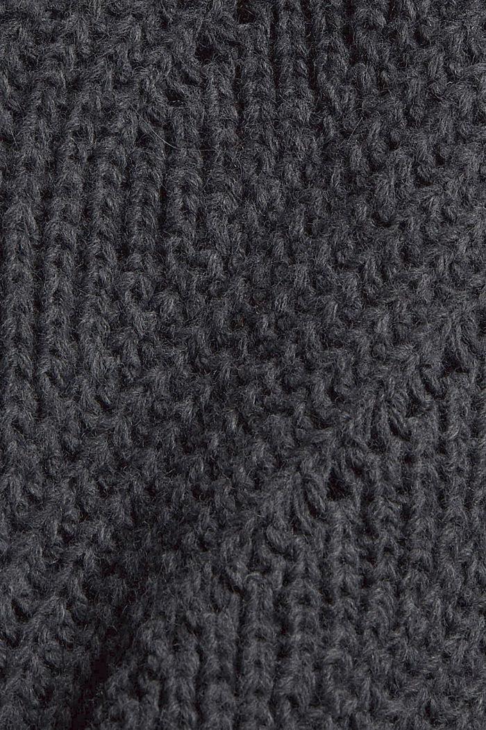 Mit Wolle/Alpaka: Strick-Poncho mit Rollkragen, ANTHRACITE, detail image number 2