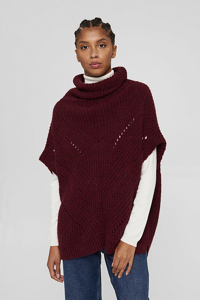 Con lana y alpaca: poncho de punto con cuello vuelto