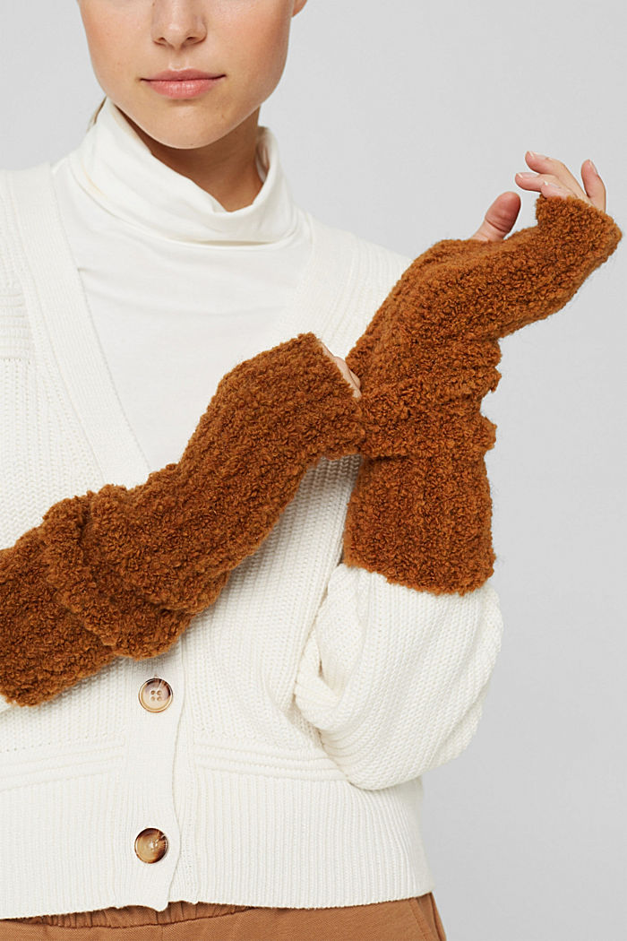 Mit Wolle/Alpaka: Armstulpen aus Bouclé-Strick, RUST BROWN, detail image number 2